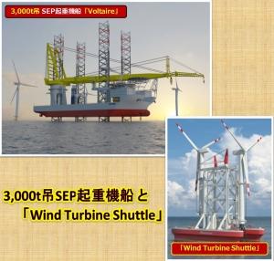 3,000t吊SEP起重機船と「Wind Turbine Shuttle」