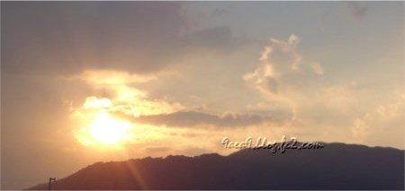 夕日 太陽 空 やま