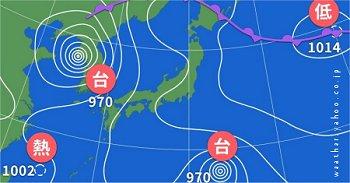 台風 熱低 台風 とんでもない気圧配置