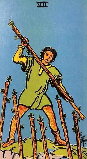 タロットカード『ワンド7』 by占いとか魔術とか所蔵画像