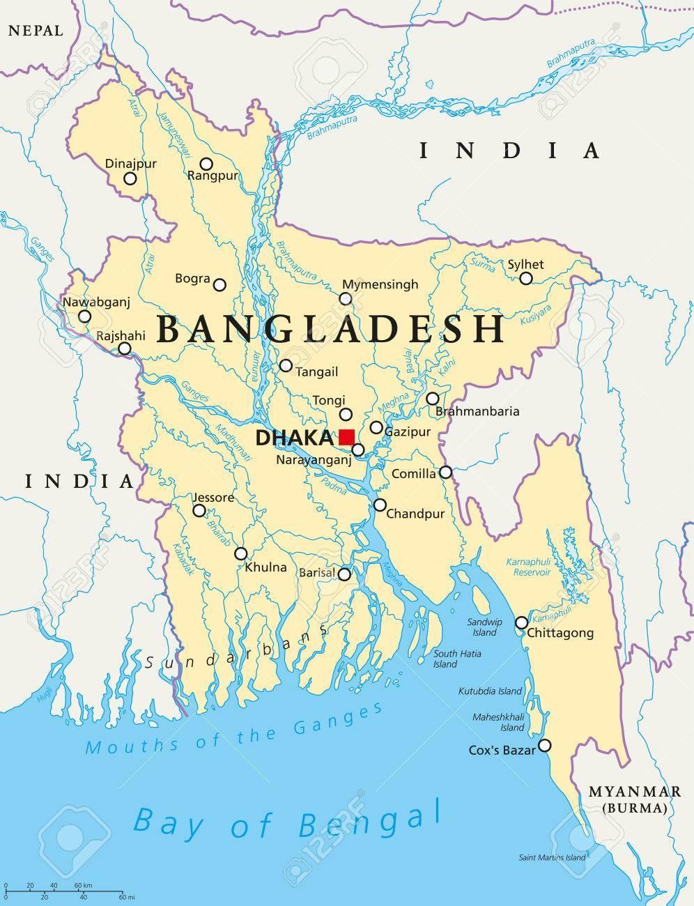 60593675-バングラデシュ首都ダッカ、国境、重要な都市、河川や湖沼での政治地図。英語のラベルします。イラスト。