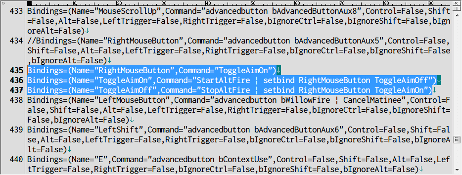 PC ゲーム Borderlands GOTY Enhanced ゲームプレイ最適化メモ、切り替え式 ADS 設定方法、%USERPROFILE%\Documents\My Games\Borderlands Game of the Year\WillowGame\Config フォルダにある WillowInput.ini ファイルを開き、[WillowGame.WillowPlayerInput] セクション 434行目のキーバインドコードをコメントアウトするか削除したら、3行の Bindings(RightMouseButton、ToggleAimOn、ToggleAimOff)を追加、乗り物での運転席で ADS キー(右クリック)射撃は不可