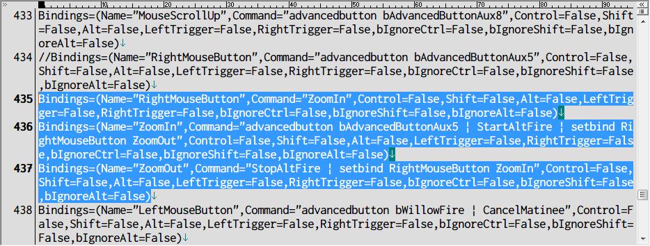 PC ゲーム Borderlands GOTY Enhanced ゲームプレイ最適化メモ、切り替え式 ADS 設定方法、%USERPROFILE%\Documents\My Games\Borderlands Game of the Year\WillowGame\Config フォルダにある WillowInput.ini ファイルを開き、[WillowGame.WillowPlayerInput] セクション 434行目のキーバインドコードをコメントアウトするか削除したら、3行の Bindings(RightMouseButton、ZoomIn、ZoomOut)を追加、乗り物での運転席で ADS キー(右クリック)射撃は可、ただし、ADS キー(右クリック)射撃は切り替え式(デフォルト設定ではマウスボタン押下中のみ射撃)