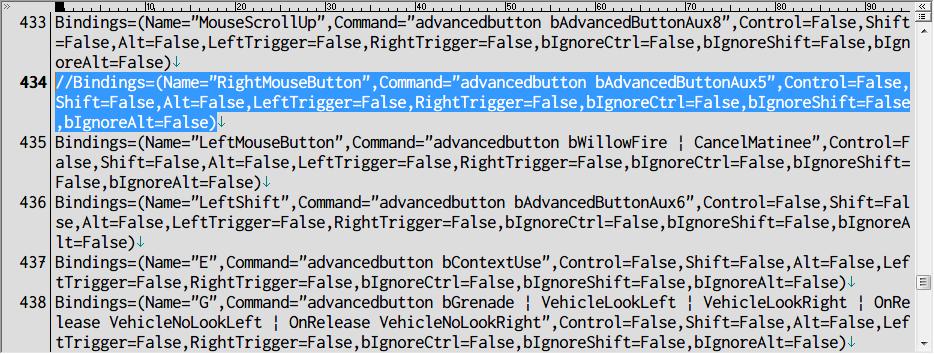 PC ゲーム Borderlands GOTY Enhanced ゲームプレイ最適化メモ、切り替え式 ADS 設定方法、%USERPROFILE%\Documents\My Games\Borderlands Game of the Year\WillowGame\Config フォルダにある WillowInput.ini ファイルを開き、[WillowGame.WillowPlayerInput] セクション 434行目のキーバインドコードをコメントアウトするか削除