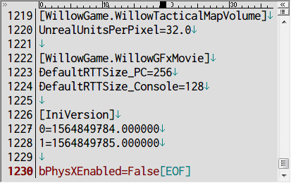 PC ゲーム Borderlands The Pre-Sequel ゲームプレイ最適化メモ、物理エンジン PhysX 設定変更、%USERPROFILE%\Documents\My Games\Borderlands The Pre-Sequel\WillowGame\Config フォルダにある WillowGame.ini ファイルを開き、最後の行に bPhysXEnabled=False を追加、WillowGame.ini を読み取り専用に変更