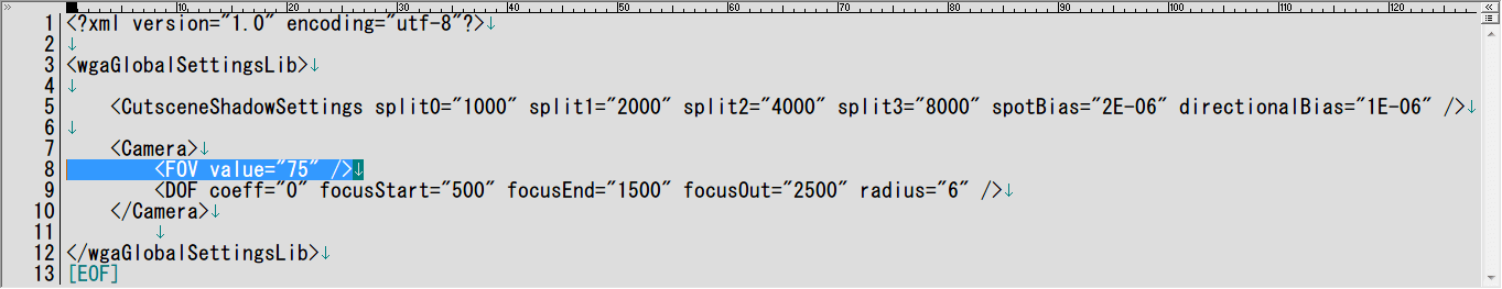 PC ゲーム Of Orcs And Men 日本語化メモ、FOV 変更方法、7-Zip で展開・解凍した sli.spk ファイルの sli フォルダにある、sli_uncompressed.spk ファイルを 7-Zip で展開・解凍、展開・解凍された sli_uncompressed フォルダを開く、engine フォルダにある globalsettings.sli ファイルをテキストエディタで開き、8行目にある FOV value 値(デフォルト 45)を変更して保存