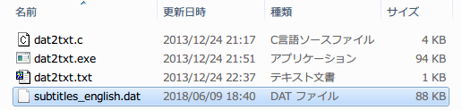 PC ゲーム The Stanley Parable 日本語化メモ、Source Engine dat txt 変換ツール dat2txt を使って dat ファイルを txt ファイルに変換、The Stanley Parable subtitles_english.dat を dat2txt.exe ファイルと同じフォルダに入れ、コマンドプロンプトかバッチファイルを実行する、subtitles_english.txt が生成されたら成功
