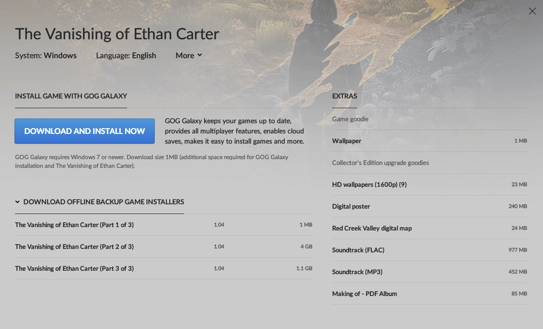 GOG.com The Vanishing of Ethan Carter 日本語化可能