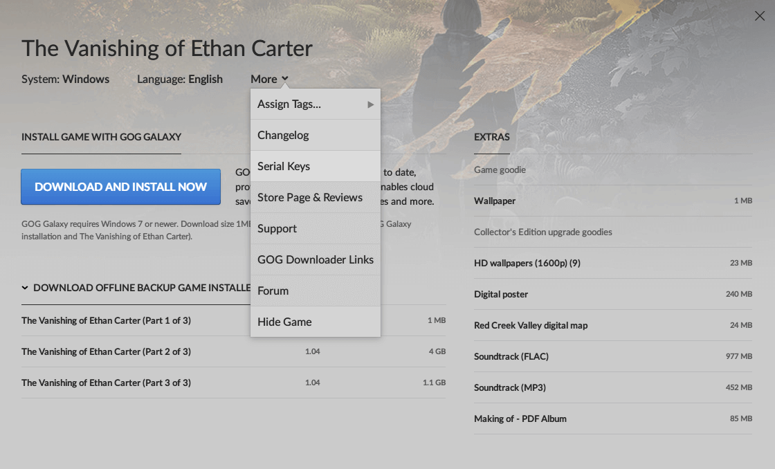 GOG 版 The Vanishing of Ethan Carter Redux 登録方法、GOG 版 The Vanishing of Ethan Carter ダウンロードページにある More → Serial Keys をクリック