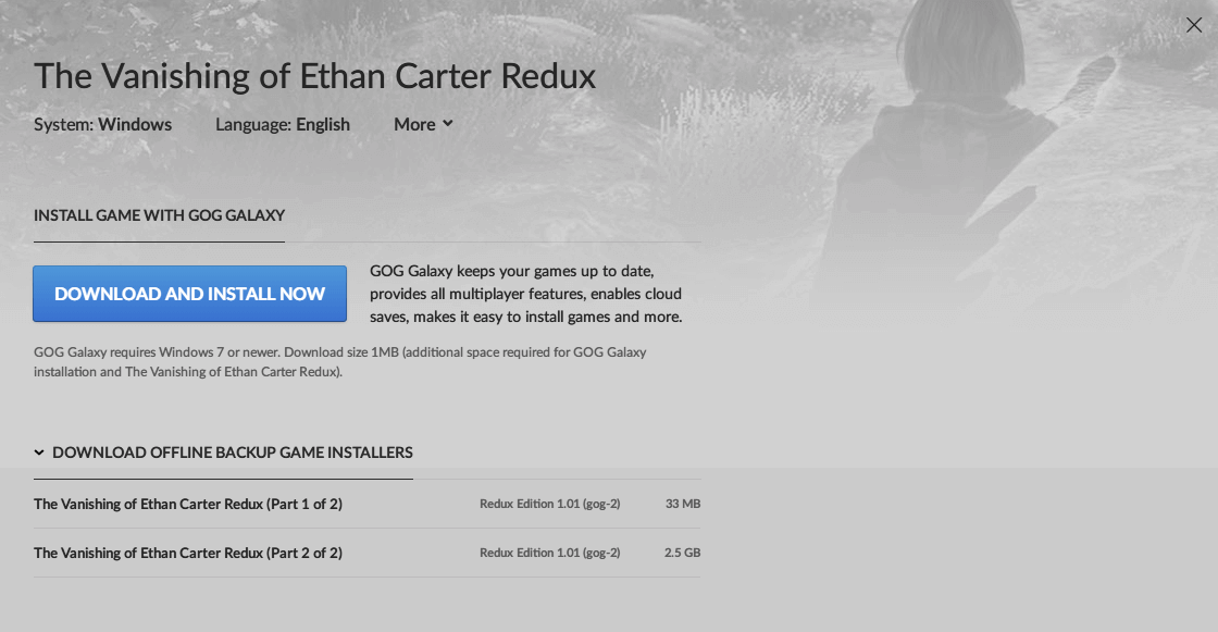 GOG.com The Vanishing of Ethan Carter Redux 日本語化可能