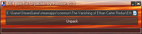 UE4PakUnpacker.exe で The Vanishing of Ethan Carter Redux インストール先 EthanCarter\Content\Paks フォルダにある EthanCarter-WindowsNoEditor.pak が指定されていることを確認して Unpack ボタンをクリック