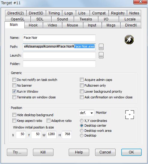 PC ゲーム Face Noir 日本語化メモ、DxWnd を使ってウィンドウモード化、Main タブ Position W・・・1280、H・・・768