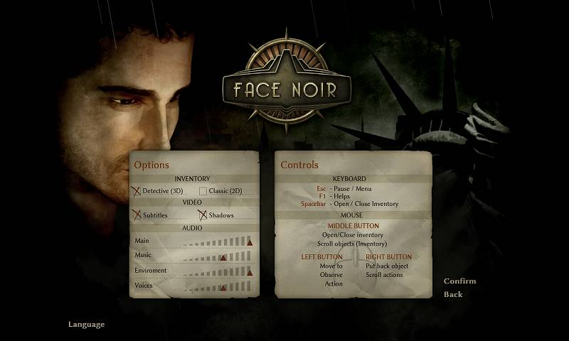 PC ゲーム Face Noir 日本語化メモ、日本語化前のオプション・キーボードマウス操作方法画面