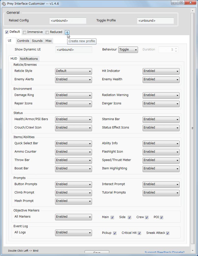 PC ゲーム Prey (2017年版) ゲームプレイ最適化メモ、Prey Interface Customizer v1.4.6 プロファイル作成方法、タブ横の+ボタン(Create new profile)をクリック