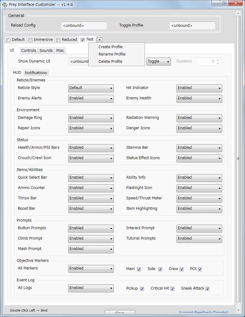 PC ゲーム Prey (2017年版) ゲームプレイ最適化メモ、Prey Interface Customizer v1.4.6 プロファイル作成方法、タブ横の+ボタン(Create new profile)をクリック、コピー元のプリセットを選択して、プロファイル名を入力して OK ボタンをクリック、タブを右クリックすることでプロファイルの編集可能