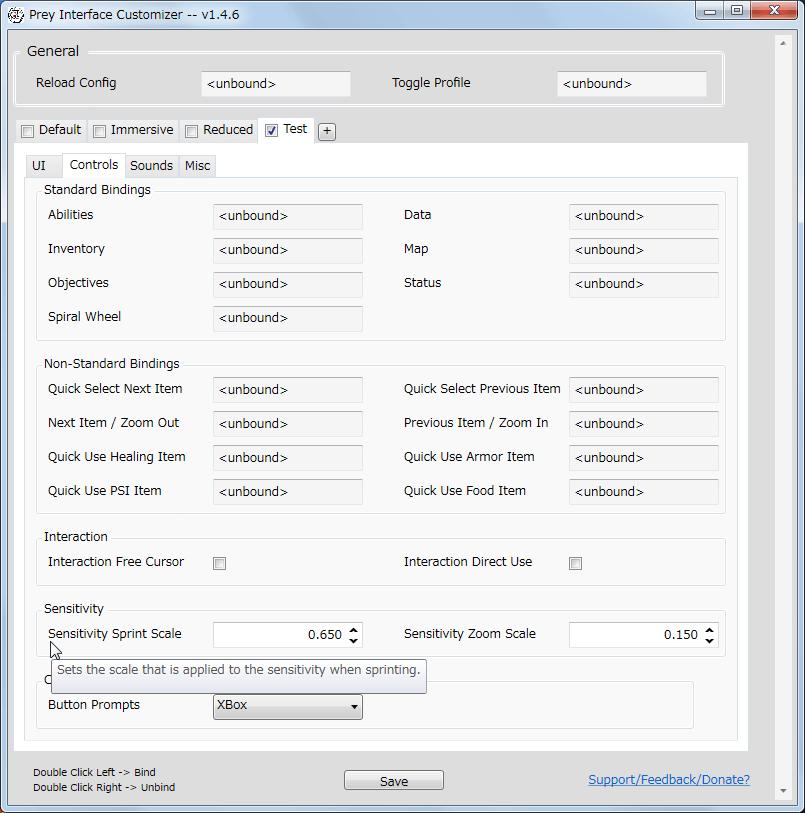 PC ゲーム Prey (2017年版) ゲームプレイ最適化メモ、Prey Interface Customizer v1.4.6 の Controls タブにある Sensitivity の Sensitivity Sprint Scale 値を変更することで、走っている間のマウス感度の調整が可能、デフォルト値 0.650 は通常マウス操作より感度が低く設定