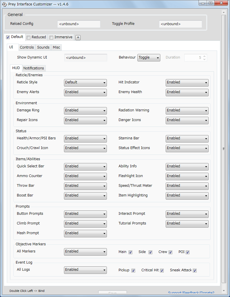 PC ゲーム Prey (2017年版) ゲームプレイ最適化メモ、Prey Interface Customizer v1.4.6 設定画面