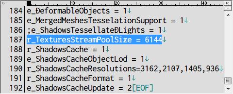 PC ゲーム Prey (2017年版) ゲームプレイ最適化メモ、Real Lights plus Ultra Graphics 1.3.1 インストール方法、system.cfg をテキストエディタで開き、187行目の r_TexturesStreamPoolSize 値に VRAM の数値を MB 単位で設定