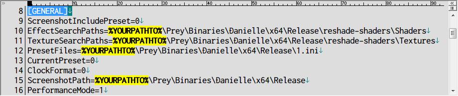 PC ゲーム Prey (2017年版) ゲームプレイ最適化メモ、Real Lights plus Ultra Graphics NO RESHADE 1.3.1 インストール方法、Open and drop the files on Prey-Binaries-Danielle-x64-Release フォルダにある txt 以外のファイル・フォルダを、Prey\Binaries\Danielle\x64\Release フォルダに配置、テキストエディタで ReShade.ini ファイルを開き [GENERAL] セクションにある %YOURPATHTO% (4か所) をゲームがインストールされているパス名に書き換え