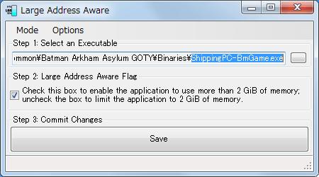 PC ゲーム Batman: Arkham Asylum GOTY Edition 日本語化とゲームプレイ最適化メモ、HD テクスチャパック用設定、ShippingPC-BmGame.exe に Large Address Aware 4GB パッチ適用