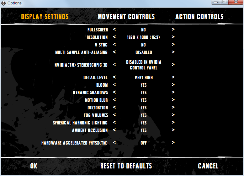 PC ゲーム Batman: Arkham Asylum GOTY Edition 日本語化とゲームプレイ最適化メモ、グラフィック改善設定、ランチャー画面から Settings をクリック、DISPLAY SETTINGS で MSAA(Multi Sample Anti-Aliasing) を Disabled に、Detail Level を Very High に設定