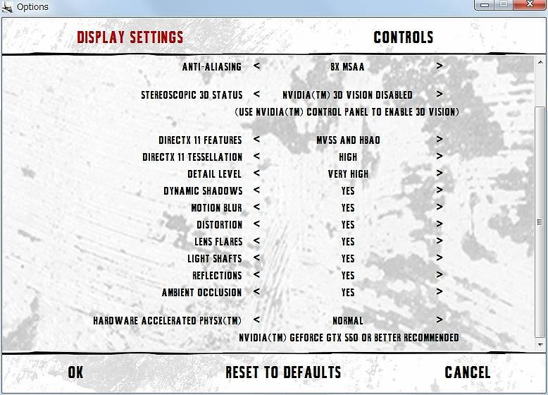PC ゲーム Batman: Arkham City GOTY Edition 日本語化とゲームプレイ最適化メモ、物理エンジン PhysX オフ設定方法、ランチャー設定ディスプレイ画面一番下にある HARDWARE ACCELERATED PHYSX(ハードウェア・アクセレレーター PHYSX) を OFF(オフ)に変更、デフォルトは NORMAL(ノーマル)