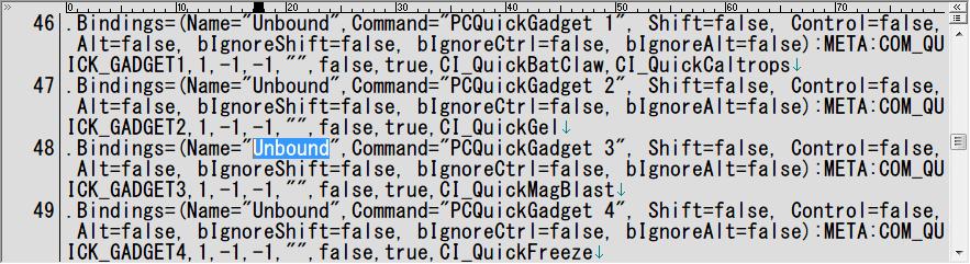 PC ゲーム Batman: Arkham City GOTY Edition 日本語化とゲームプレイ最適化メモ、キーボード・マウス操作時のクイックファイアー設定、%USERPROFILE%\Documents\WB Games\Batman Arkham City GOTY\BmGame\Config フォルダにある UserInput.ini ファイルを開き、キーバインド PCQuickGadget 1 ~ false,true ~ と PCQuickGadget 3 ~ false,true ~ を探し出し、Unbound に設定