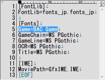 PC ゲーム Batman: Arkham Origins 日本語化とゲームプレイ最適化メモ、Batman: Arkham Origins 日本語化手順 2 : GFxFonts.JPN ファイルでフォント設定変更、インストール先 SinglePlayer\BMGame\Localization\JPN フォルダにある GFxFonts.JPN ファイルを開き、[Fonts] セクションにある Game=BAC Game を Game=MS PGothic に書き換え