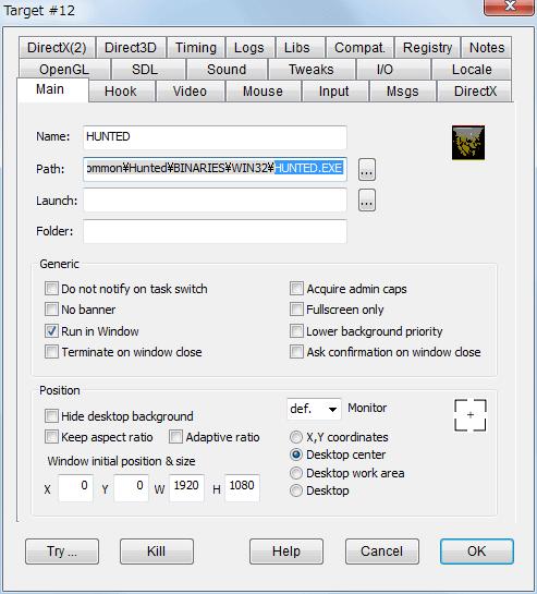 PC ゲーム Hunted: The Demon's Forge 日本語化メモ、設定したゲーム内解像度が勝手に変更されずにゲーム画面をウィンドウモードで表示する方法、DxWnd - Main タブ設定例(フル HD 以上の液晶モニターでゲーム解像度 1920x1080 の場合)、Position を Desktop center にして W - 1920、H - 1080 に設定することでモニター画面中央にゲーム画面が表示されるように位置設定