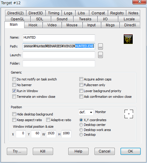 PC ゲーム Hunted: The Demon's Forge 日本語化メモ、設定したゲーム内解像度が勝手に変更されずにゲーム画面をウィンドウモードで表示する方法、DxWnd - Main タブ設定例(モニター解像度 WUXGA 1920x1200 でゲーム解像度 1920x1080 の場合)、Position を X,Y coordinates にして Y - 60、W - 1920、H - 1080 に設定することでモニター画面中央にゲーム画面が表示されるように位置設定