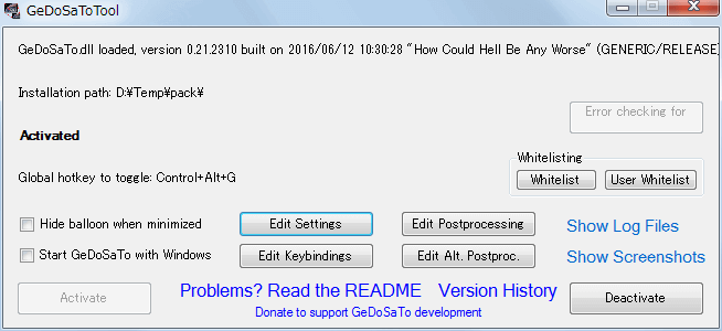 PC ゲーム Hunted: The Demon's Forge 日本語化メモ、設定したゲーム内解像度が勝手に変更されずにゲーム画面をウィンドウモードで表示する方法、GeDoSaToTool.exe を起動して Edit Settings ボタンをクリック
