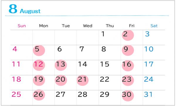 カレンダー201908