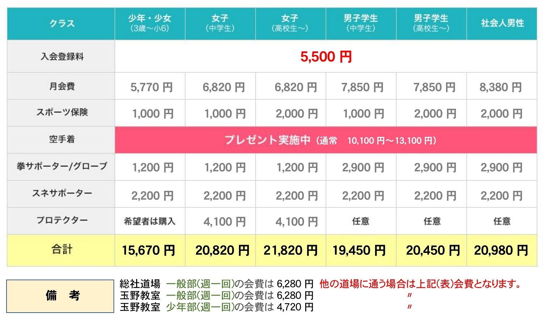 入会費用一覧 (2) - コピー