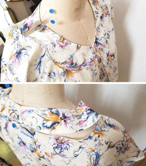 花柄ブラウスVネック袖ぐりお直し6
