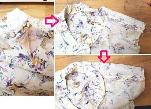 花柄ブラウスVネック袖ぐりお直し7