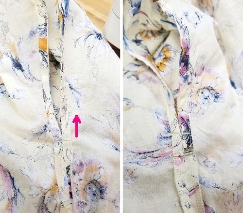 花柄ブラウスVネック袖ぐりお直し9