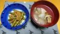 お麩といんげんの炊いたん 冬瓜とマッシュルームのスープ 20190917