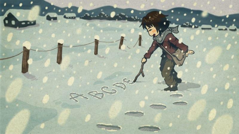 『あちこちのすずさん』雪に書いたアルファベット