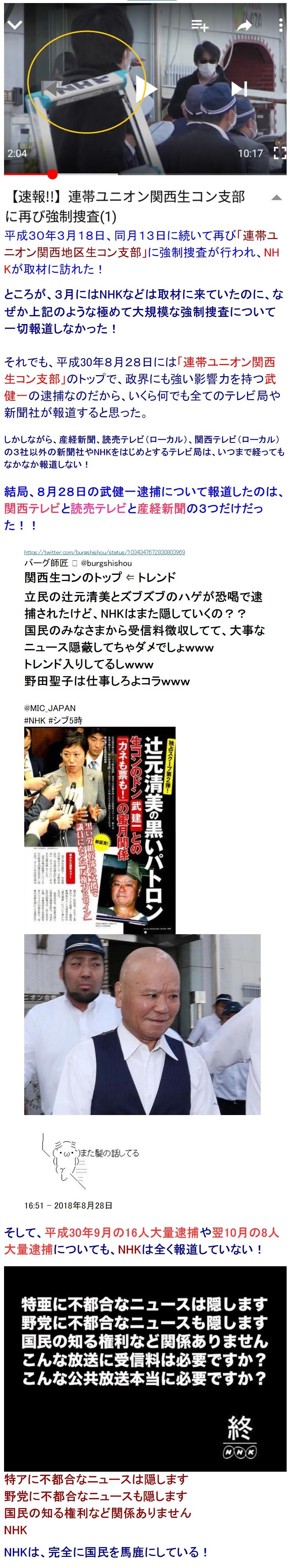 NHKは関西生コン逮捕を報道せず3