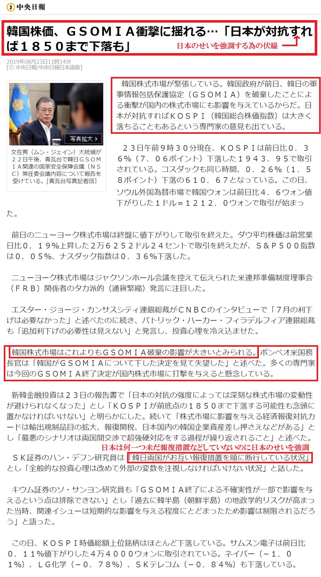 ブンザイ寅の愚策のせいでの株価下落を日本のせいにする朝鮮紙