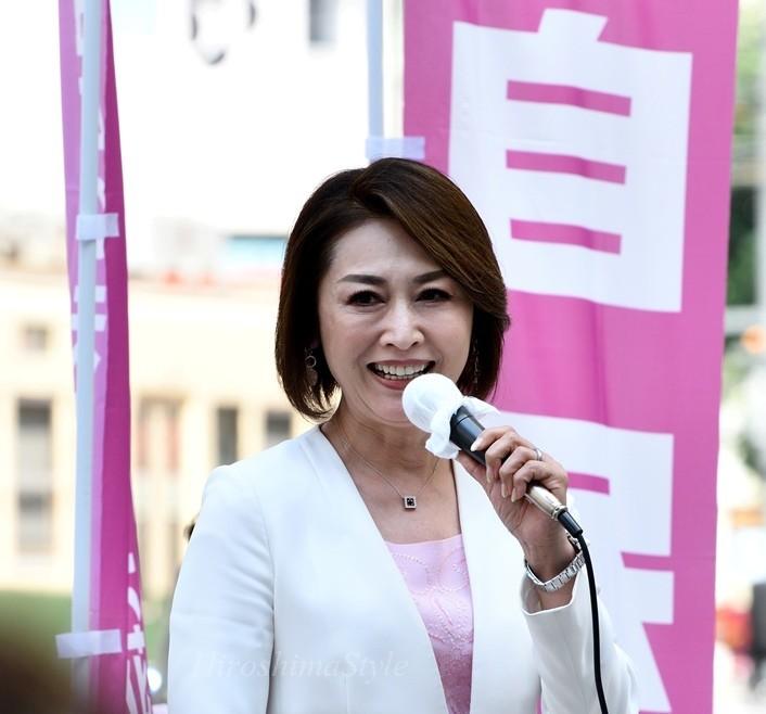 自民党の三原じゅん子 広島, 広島市で河井あんりの応援演説