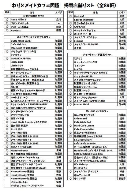 わりとメイドカフェ図鑑 紹介店舗リスト