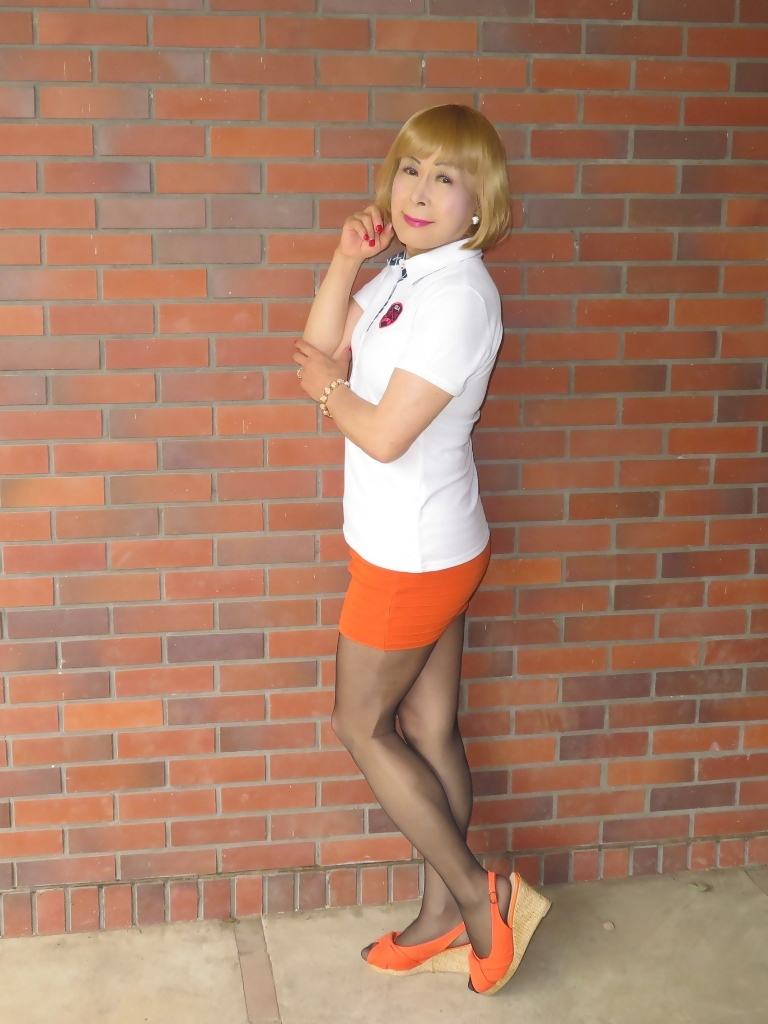 白ポロシャツ橙マイクロミニA(3)