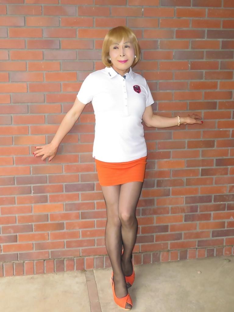 白ポロシャツ橙マイクロミニA(5)