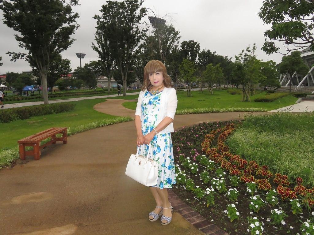 水色総花柄ワンピB(3)