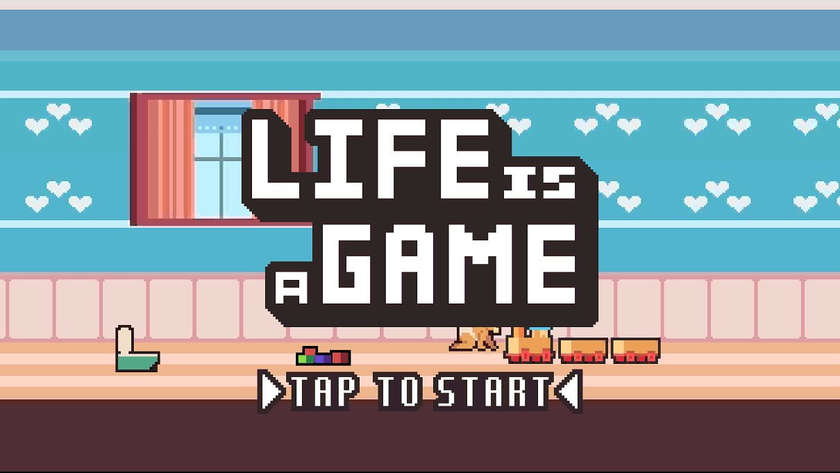life is a game スクショ タイトル画面 水色