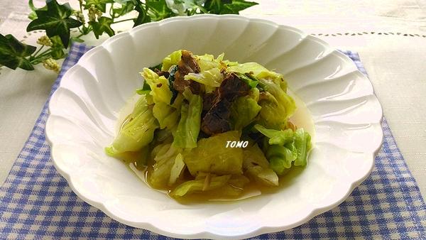 嬬恋高原キャベツとサバ水煮缶のカレー蒸し