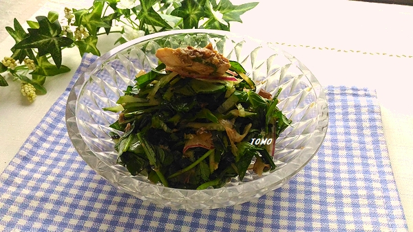 空芯菜とサバ水煮缶のサラダ
