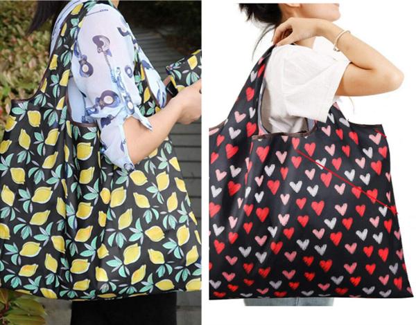 feifeibujiabingの持ち運びが楽な買い物袋を肩に掛けている女性
