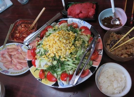 ツナコーンサラダ、明太子、岩下の新生姜